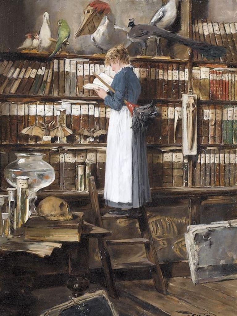 Édouard John Mentha (1858-1915), Maid Reading In A Library