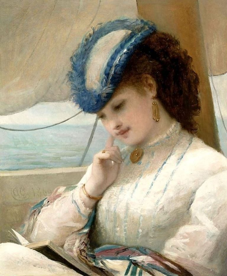 Alfred Chantrey Corbould, A Girl Reading In A Sailing Boat (1869)