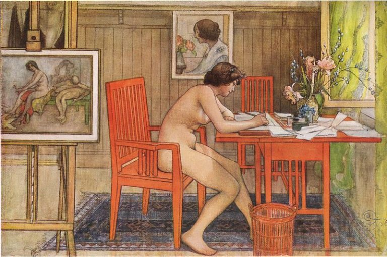 Carl Larsson, Model Writing Postcards, 1906