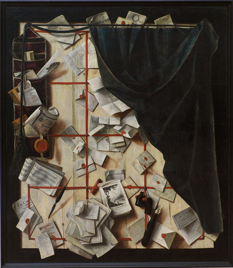 Cornelius Norbertus Gijsbrechts, Trompe L'oeil. Board Partition With Letter Rack And Music Book