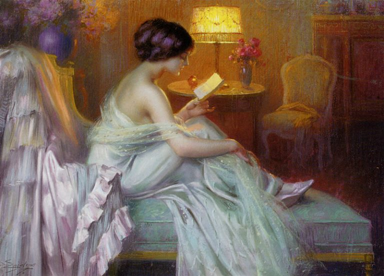 Delphin Enjolras, Reading At Lamp Light