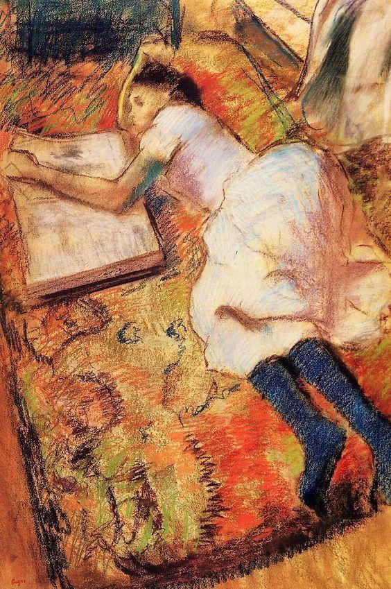 Edgar Degas, Young Girl Reading On The Floor