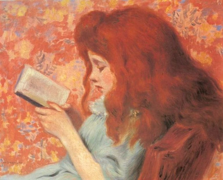 Federico Zandomeneghi (1841-1917). Girl Reading A Book