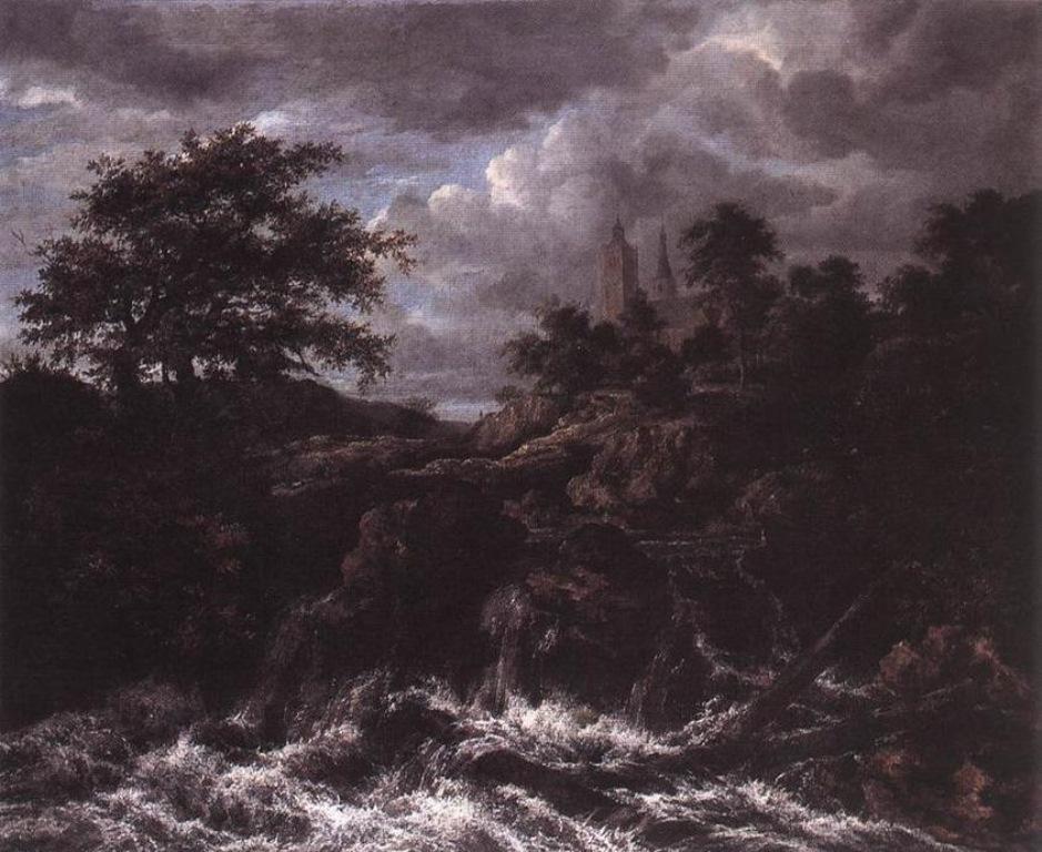 Jacob Isaakszoon Van Ruisdael Waterfall By A Church 2 1667 Usato