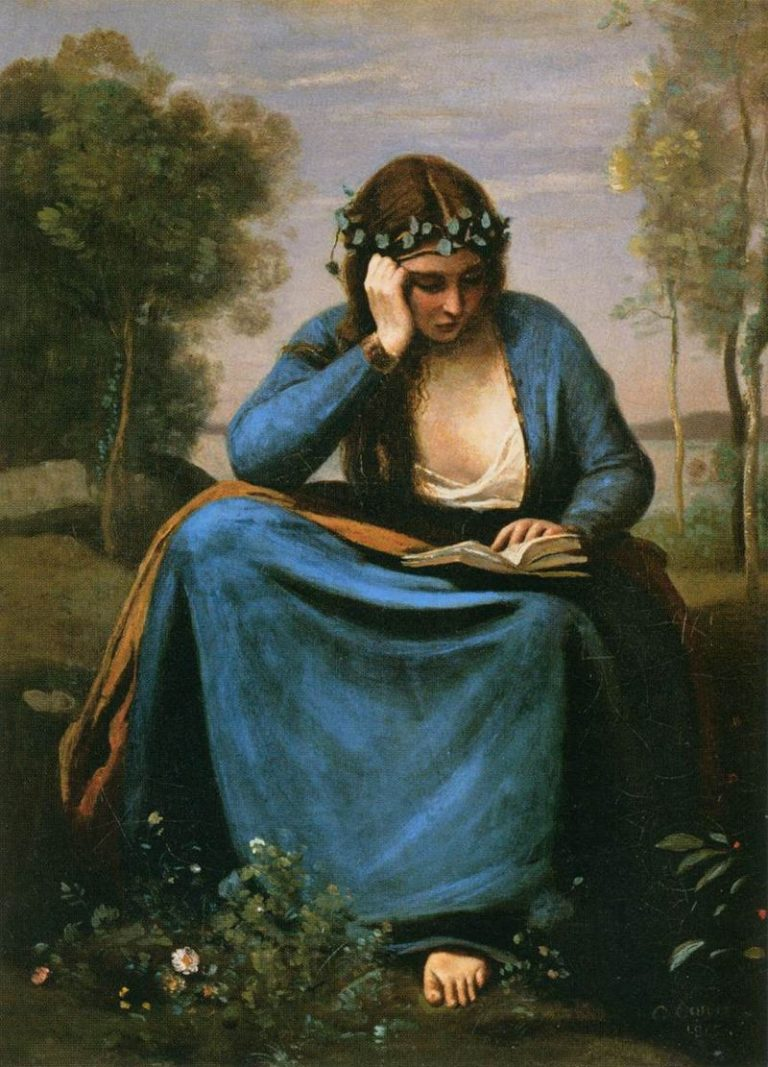 Jean Baptiste Camille Corot, The Reader Wreathed With Flowers (Virgil's Muse)