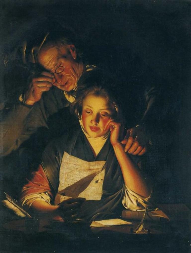 Joseph Wright Of Derby. A Young Girl Reading A Letter, With An Old Man Reading Over Her Shoulder. 1770