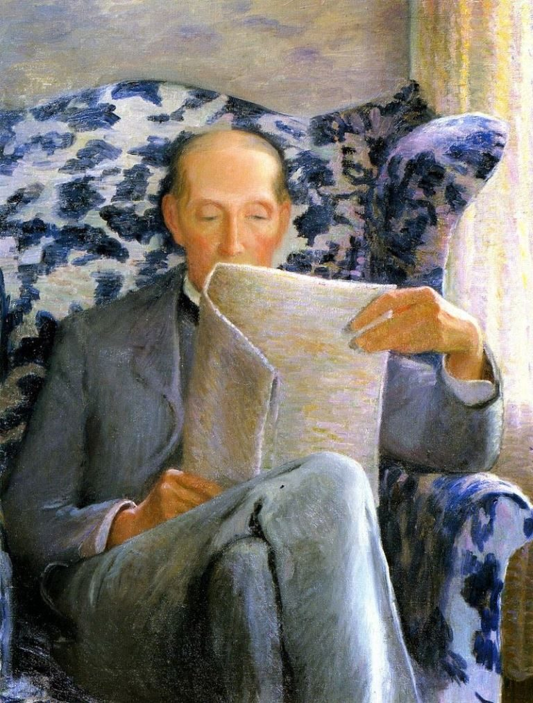 Lilla Cabot Perry, Thomas Sergeant Perry Reading A Newspaper