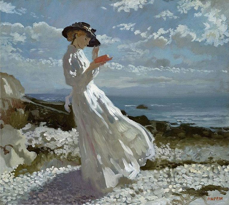 Sir William Orpen, Grace Reading At Howth Bay