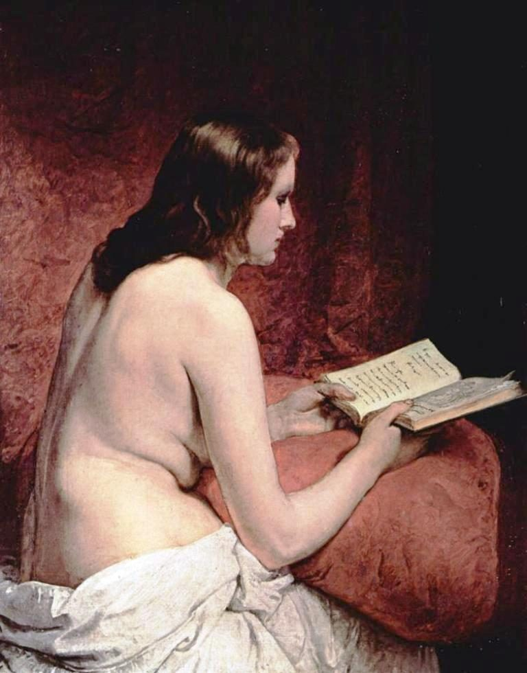 F. Hayez, Nudo Con Libro
