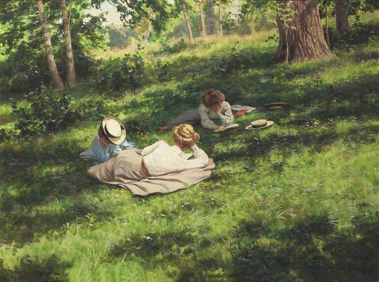 J. Krouthen, Three Reading Woman In A Summer Landscape, 1908