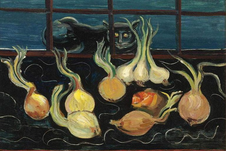 Boris Grigoriev, Still Life With Cat And Onions