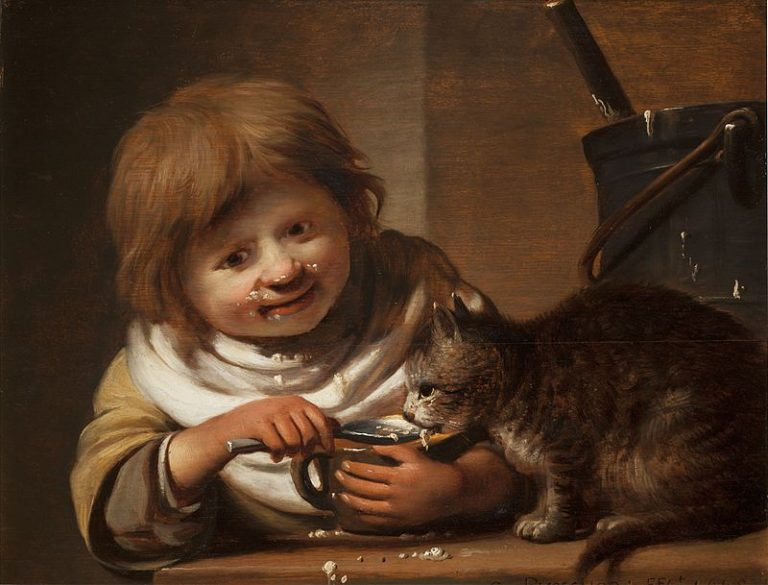 Cornelis Bishop, Boy Feeding His Cat
