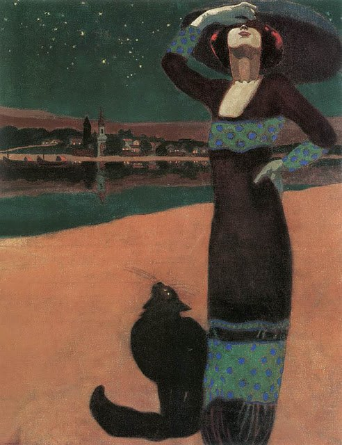 Géza Faragó, Slim Woman With A Cat, 1913