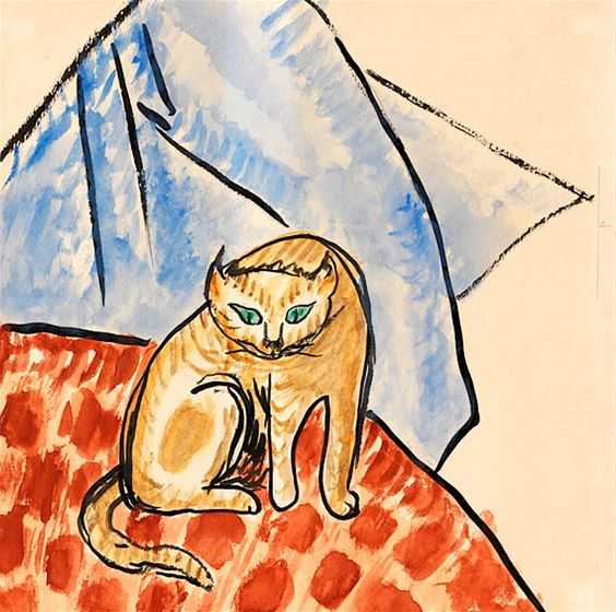 Gabriele Münter, Cat On A Blanket, 1930