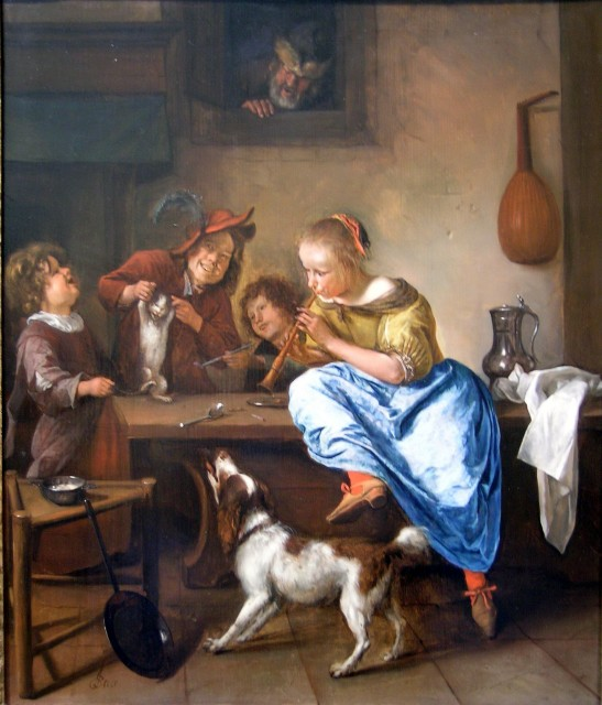Jan Steen, Children Teaching A Cat To Dance