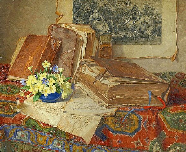 Josef Jurutka (1880-1945), Still Life With Folios