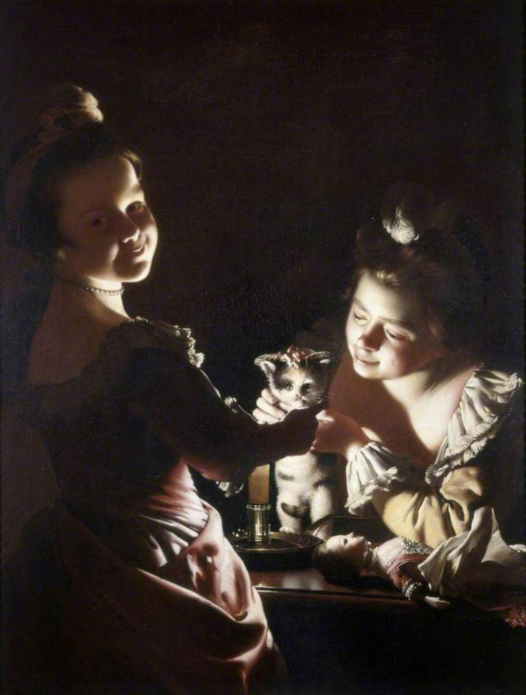Joseph Wright Of Derby. Two Girls Dressing A Kitten By Candlelight. 1770