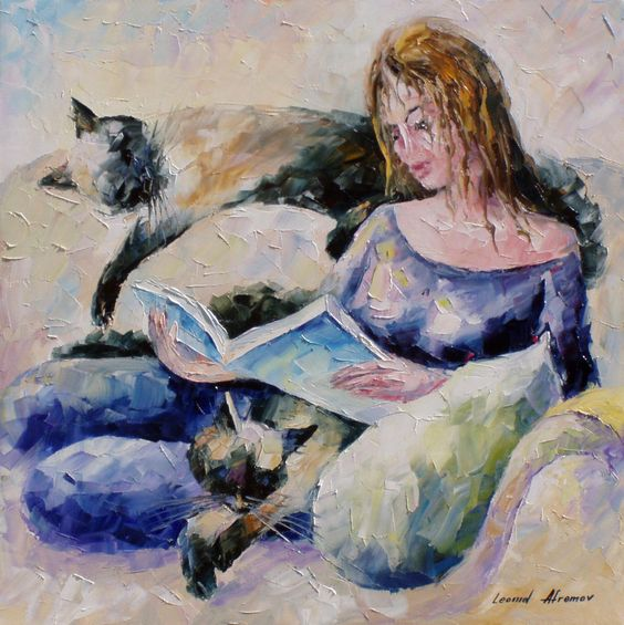 L. Afremov, Lady with cat