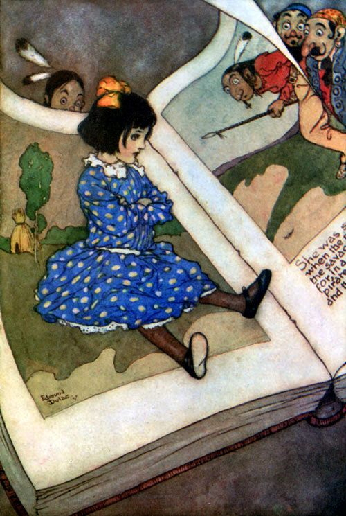 Edmund Dulac, Little Girl In A Book