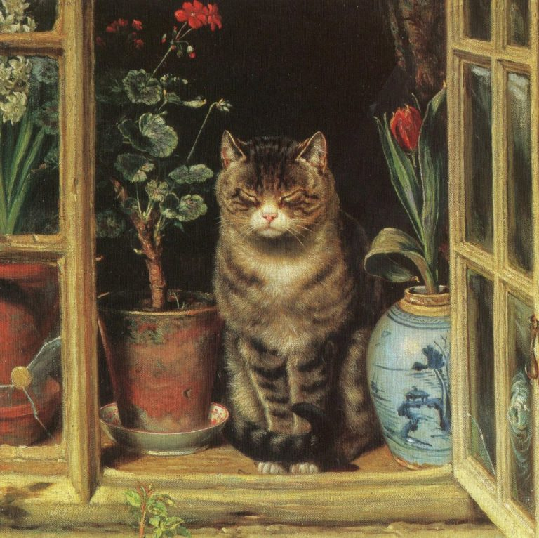 Ralph Hedley (1848-1913), Cat In A Cottage Window