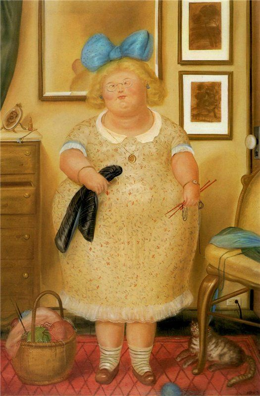 F. Botero, The Old Maid (and Her Cat)