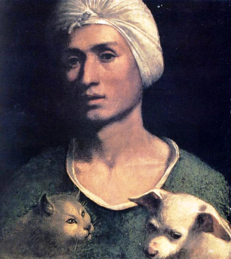 D. Dossi, Young Man With Dog And Cat
