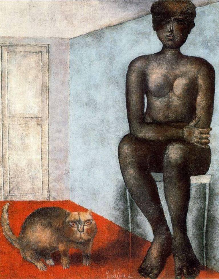 F. Gentilini, Nudo Con Gatto 1964