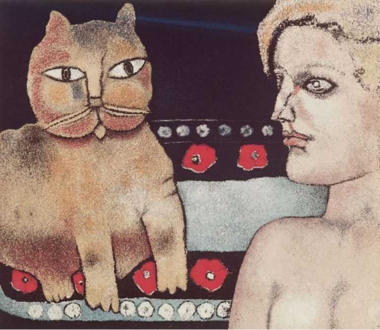 F. Gentilini, The Girl And The Cat, 1977