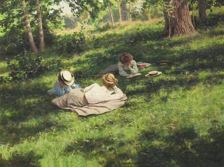 J. Krouthen, Three Reading Woman In A Summer Landscape, 1908