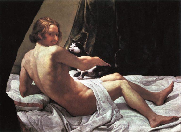 G. Lanfranco, Giovane Con Un Gatto Sul Letto, 1620