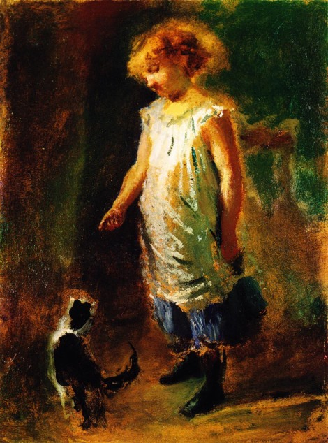 D. Ranzoni, Little Girl Playing With The Cat (1878)